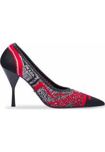 Prada Sapato De Tricô Com Bico Fino - Vermelho