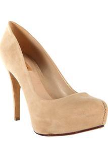 Sapato Meia Pata Liso- Bege Claro- Salto: 12Cmschutz