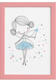 Quadro Para Quarto De Menina Fada Azul Moldura Rosa 22X32Cm