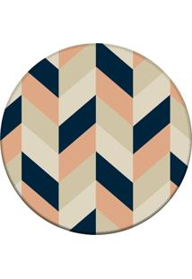 Tapete Love Decor Redondo Wevans Chevron Multicolorido 84Cm