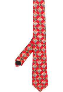 Burberry Gravata De Seda Estampada - Vermelho