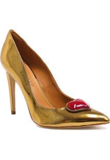 Sapato Cecconello Scarpin Coração - Feminino-Dourado
