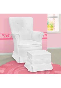 Poltrona Amamentação Sofia Com Balanço E Puff Unissex Branca - Confortável