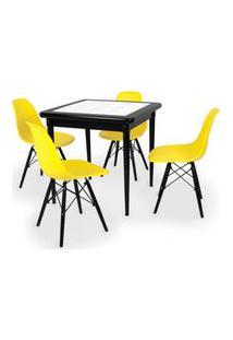 Conjunto Mesa De Jantar Em Madeira Preto Prime Com Azulejo + 4 Cadeiras Eames Eiffel - Amarelo