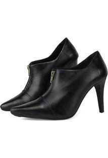 Ankle Boot Couro Sapatofran Feminina - Feminino-Preto