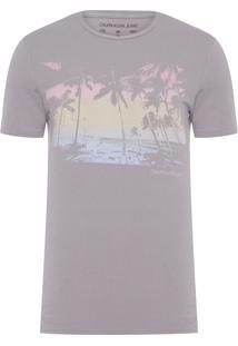 Camiseta Masculina Praia Aquarela - Cinza