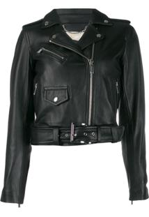 Michael Michael Kors Cropped Leather Jacket - Preto