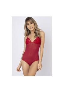Body Sexy Bella Fiore Modas Tule Transparente Bia Vermelho