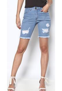 Bermuda Jeans Com Bolsos & Puídos - Azul Claro - Osmosmoze