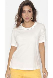 Blusa Lisa Com Vazados- Off White- Bobstorebobstore