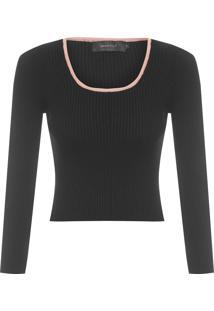 Blusa Feminina Canelada Decote Quadrado - Preto