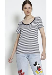Camiseta Listrada- Branca & Azul Marinholevis