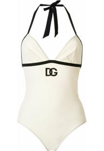 Dolce & Gabbana Maiô Com Bordado De Logo Dg - Branco