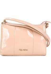 Bolsa Via Uno Mini Bag Eco Verniz Feminina - Feminino-Nude