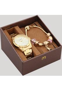 Kit De Relógio Analógico Mondaine Feminino + Pulseira - 83335Lpmvde2Kb Dourado - Único
