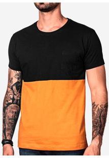 Camiseta Meio A Meio Mostarda 101116