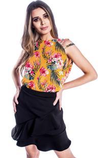 Blusa Carbella Tiras Crepe Floral Amarela