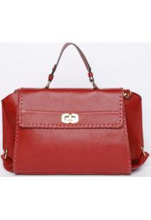 Bolsa Em Couro Com Trançados- Vermelha- 24X31X16Cm