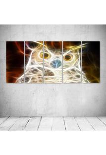 Quadro Decorativo - Owl Neon - Composto De 5 Quadros