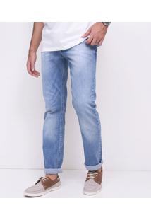 Calça Reta Em Jeans Com Lavagem