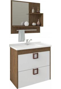 Gabinete De Banheiro 1 Gaveta 1 Porta Basculante Com Cuba E Espelheira Lírio Mgm Móveis Amêndoa/Branco