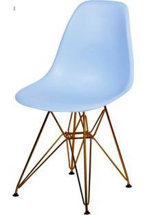 Cadeira Eames Polipropileno Azul Claro Base Cobre - 45975 - Sun House