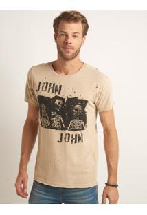 Camiseta John John Rx Zombie Trio Malha Bege Masculina Tshirt Rx Zombie Trio-Bege Medio-Gg