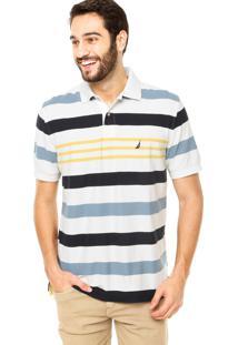 Camisa Polo Nautica Listras Branco/Azul