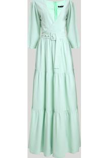 Vestido Feminino Mindset Longo Com Transpasse E Cinto Manga 7/8 Verde Claro