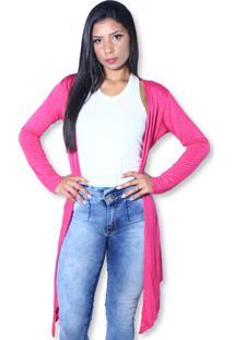 Cardigan Heide Ribeiro Alongado Soltinho Strass Super Leve Pink - Tricae