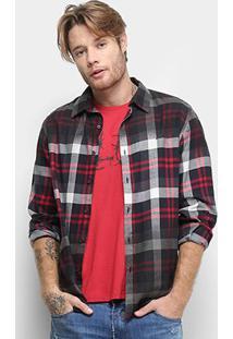 Camisa Ellus Connect Wool Xadrez Manga Longa Masculina - Masculino-Vermelho