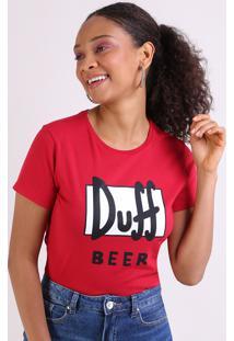 Blusa Feminina Duff Beer Os Simpsons Manga Curta Decote Redondo Vermelho