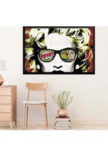 Quadro Love Decor Com Moldura Madonna Em Pop Art Preto Médio