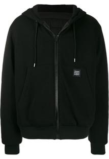 Msgm Zipped Drawstring Jacket - Preto