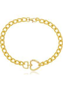 Colar Gargantilha Corrente Cadeado Elos Com Mosquetão De Coração Di Capri Semi Jóias X Ouro Dourado