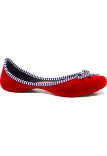 Sapatilha Zariff Shoes Curvada Laço Veludo Vermelho