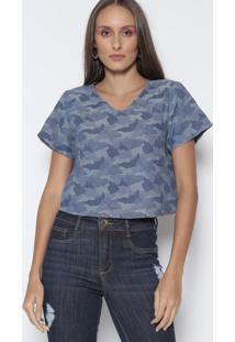 Blusa Cropped - Azul Escuro & Azul Claro - Lanã§A Perlanã§A Perfume