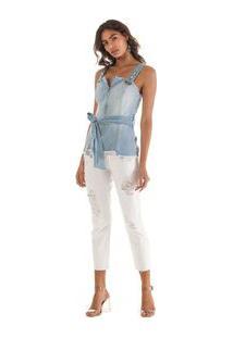 Blusa Decote Quadrado Alca Com Faixa Jeans