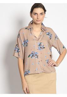 Camisa Floral Com Botãµes- Bege & Azulenna