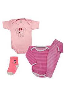 Body Roupa De Bebê Enxoval Conjunto Plush E Meia Kit 4 Peças Rosa