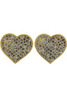 Brinco Armazem Rr Bijoux Coração Cristais Cravejados Swarovski Dourado - Feminino
