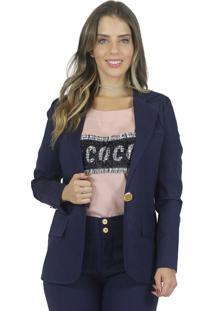 Blazer Mamorena Linho Com Lapela Frente Azul Marinho - Tricae