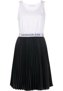 Calvin Klein Jeans Vestido Midi Com Pregas - Preto