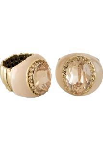 Anel Armazem Rr Bijoux Resina Cristal Rose Dourado - Tricae