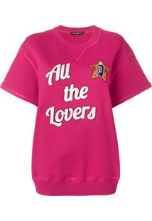 Dolce & Gabbana Blusa De Moletom Mangas Curtas ''All The Lovers' - Rosa