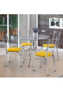 Conjunto De Mesa De Cozinha Com 4 Cadeiras Amarok Amarelo