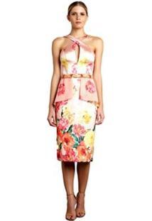 Vestido Midi Izadora Lima Brand Em Zibeline E Musseline Com Busto Cruzado Feminino - Feminino-Coral