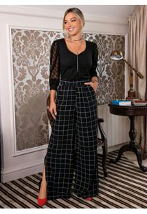 Calça Pantalona Xadrez Preta Com Fendas Laterais