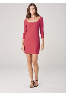 Vestido Básico Em Malha Canelada - Vermelho