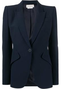 Alexander Mcqueen Structured-Shoulder Tailored Blazer - Azul